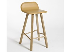 - High tanned leather stool with footrest TRIA | Tanned leather stool - Colé Italian Design Label