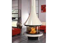 - Wood-burning central fireplace with panoramic glass EVA 992 | Contemporary style fireplace - JC Bordelet Industries