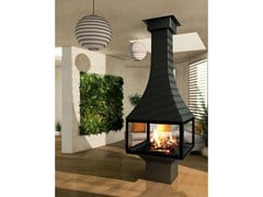 - Central closed fireplace with panoramic glass JULIETTA 985 | Closed fireplace - JC Bordelet Industries