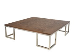 - Wooden coffee table with integrated magazine rack for living room INLAID | Square coffee table - WARISAN