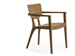 - Stackable teak garden chair with armrests DIUNA | Chair with armrests - OASIQ