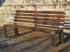 - Steel and wood Bench with back RAMBLAS - Gruppo Industriale Tegolaia