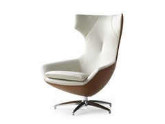 - Upholstered leather armchair CARUZZO | Leather armchair - LEOLUX
