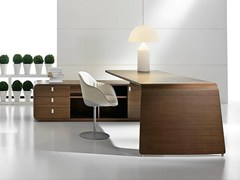 - L-shaped wood veneer executive desk with drawers SESTANTE | Wood veneer office desk - IFT