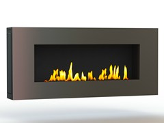 - Bioethanol wall-mounted brushed stainless steel fireplace APOLLO II CREA7ION - GlammFire