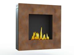 - Bioethanol wall-mounted Corten™ fireplace LOTUS I CREA7ION - GlammFire
