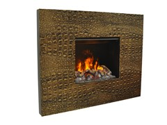 - Electric leather fireplace with remote control SENSES I 3D - GlammFire