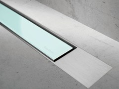 - Glass shower channel MODULO DESIGN Z-2 GREEN GLASS + BRUSHED - Easy Sanitary Solutions