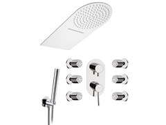 - Stainless steel shower mixer with overhead shower MINIMAL | Shower mixer with overhead shower - Remer Rubinetterie