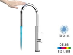 - Countertop kitchen mixer tap with swivel spout with pull out spray TOUCH-ME COLOR - NKTR 73 | Electronic kitchen mixer tap - Remer Rubinetterie