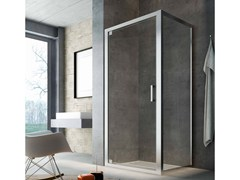 - Corner glass shower cabin with hinged door SLINTA SG+SH - Glass 1989