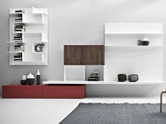 - Wall-mounted concrete resin storage wall LINE K | Concrete resin storage wall - Zampieri Cucine