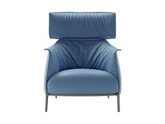 - Leather armchair with headrest ARCHIBALD | Armchair with headrest - Poltrona Frau