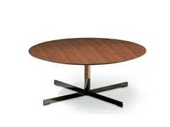 - Round wooden coffee table BOB | Wooden coffee table - Poltrona Frau