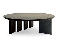 - Round tanned leather meeting table H_O MEETING | Round meeting table - Poltrona Frau