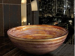 - Countertop round washbasin GRAFFITI Ø 34 - Glass Design