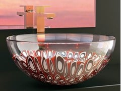- Countertop round Murano glass washbasin LAGUNA ROSSA - Glass Design