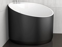 - Corner round bathtub MINI BLACK - Glass Design