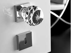 - Crystal door knob with polished finishing GEO Ø 60 TRASPARENTE - Glass Design