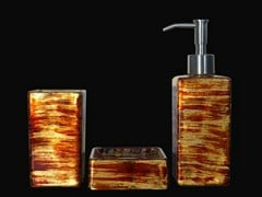 - Countertop glass toothbrush holder GRAFFITI SET RED/GOLD/IVORY - Glass Design