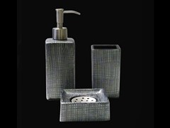 - Countertop glass toothbrush holder VENICE SET BLACK/SILVER - Glass Design