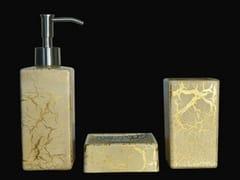 - Countertop glass soap dish KALAHARI SET WHITE/GOLD - Glass Design