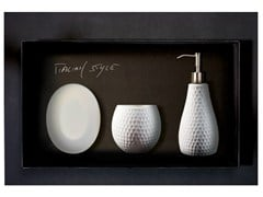 - Countertop Vetro Freddo® soap dish GOLF SET BIANCO - Glass Design