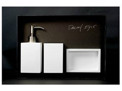- Countertop soap dish NAVY SET WHITE - Glass Design