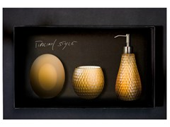 - Countertop Vetro Freddo® soap dish GOLF SET COGNAC - Glass Design
