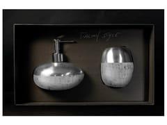 - Liquid soap dispenser / toothbrush holder GLAMOUR SET WHITE/SILVER - Glass Design