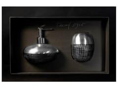 - Liquid soap dispenser / toothbrush holder GLAMOUR SET BLACK/SILVER - Glass Design