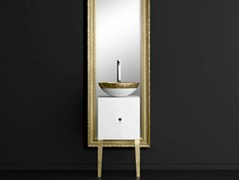 - Single wooden vanity unit with mirror MONNALISA CLASS FILIGRANA WHITE/GOLD - Glass Design