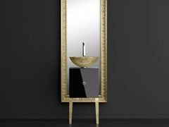 - Single wooden vanity unit with mirror MONNALISA FLORENCE BLACK MOSAIC GOLD - Glass Design