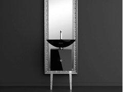 - Single wooden vanity unit with mirror MONNALISA FLORENCE COLLIER BLACK - Glass Design