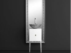 - Single wooden vanity unit with mirror MONNALISA FLORENCE MOSAIC SILVER - Glass Design
