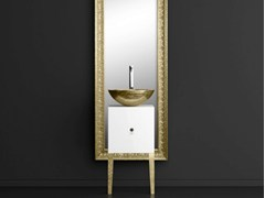 - Single wooden vanity unit with mirror MONNALISA FLORENCE WHITE MOSAIC GOLD - Glass Design