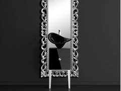 - Single wooden vanity unit with mirror MONNALISA PRESTIGE FLOWER BLACK - Glass Design