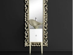 - Single wooden vanity unit with mirror MONNALISA PRESTIGE FLOWER PLATINUM - Glass Design