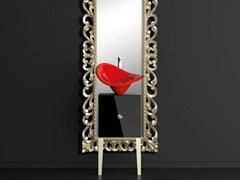 - Single wooden vanity unit with mirror MONNALISA PRESTIGE FLOWER RED FERRARI - Glass Design