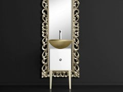 - Single wooden vanity unit with mirror MONNALISA PRESTIGE VENICE GOLD/SILVER - Glass Design