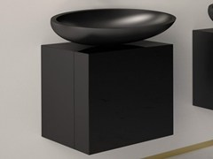 - Lacquered single wooden vanity unit LEONARDO CUBUS BLACK KOOL MAX BLACK - Glass Design