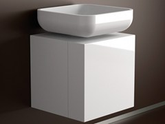 - Lacquered single wooden vanity unit LEONARDO CUBUS WHITE JIMMY SMALL WHITE - Glass Design