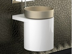 - Lacquered wall-mounted wooden vanity unit LEONARDO KOIN MEDIO WHITE RHO PLATINUM - Glass Design