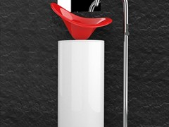 - Floor-standing lacquered wooden vanity unit LEONARDO KOIN XL FLOWER RED FERRARI - Glass Design