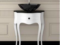 - Floor-standing wooden console sink LEONARDO CANTO WHITE ICE OVAL SMALL - Glass Design