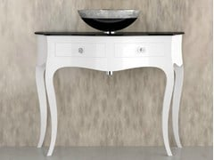 - Floor-standing console sink with drawers LEONARDO CANTO XL WHITE FLARE TECH BLACK - Glass Design