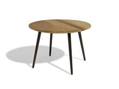 - Low round iroko garden side table VINT | Iroko coffee table - Bivaq