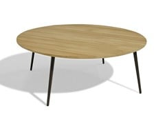 - Low round wood-product garden side table VINT | Garden side table - Bivaq