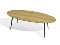- Low oval iroko garden side table VINT | Oval coffee table - Bivaq