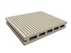 - WPC outdoor floor tiles / decking Hollow Profile White - NOVOWOOD